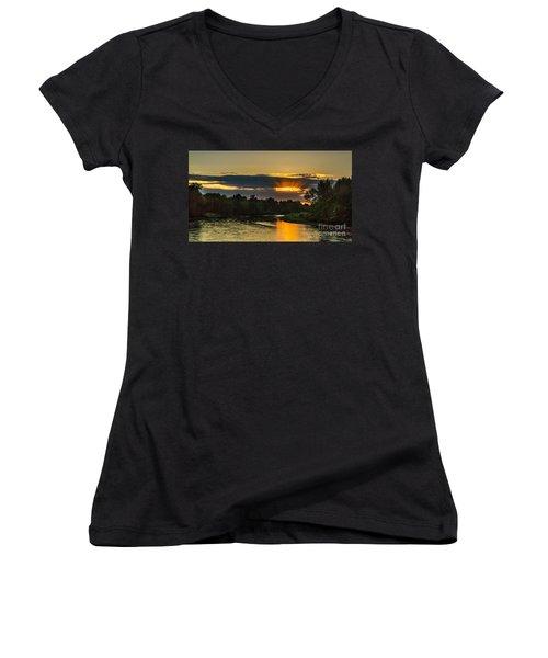 Father's Day Sunset Women's V-Neck T-Shirt (Junior Cut) by Robert Bales