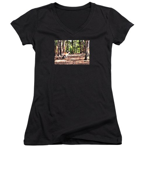 Faun In Flight Women's V-Neck T-Shirt (Junior Cut) by James Potts