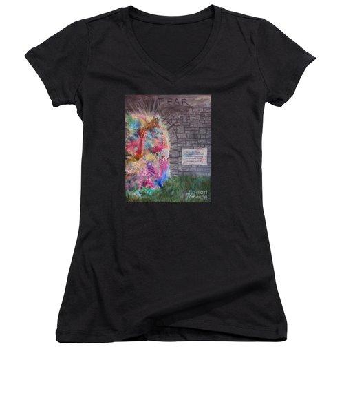 Fear Is The Prison... Women's V-Neck T-Shirt (Junior Cut) by Denise Hoag