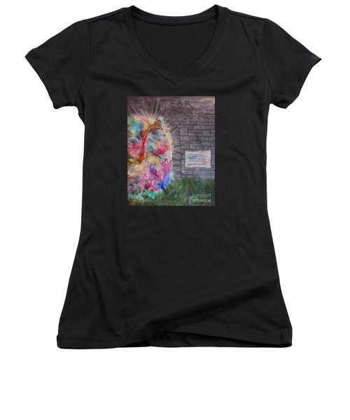 Fear Is The Prison... Women's V-Neck (Athletic Fit)