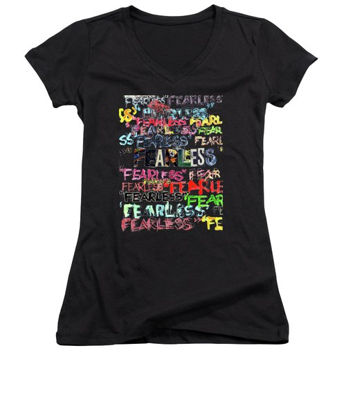 Women's V-Neck T-Shirt (Junior Cut) featuring the mixed media Fearless by Carolyn Weltman