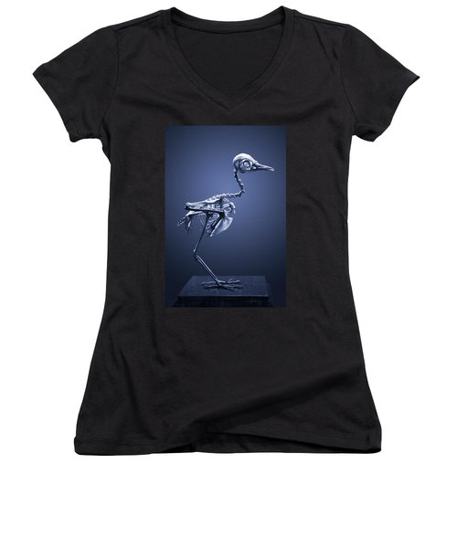 Women's V-Neck T-Shirt (Junior Cut) featuring the photograph Featherless In Blue by Joseph Westrupp