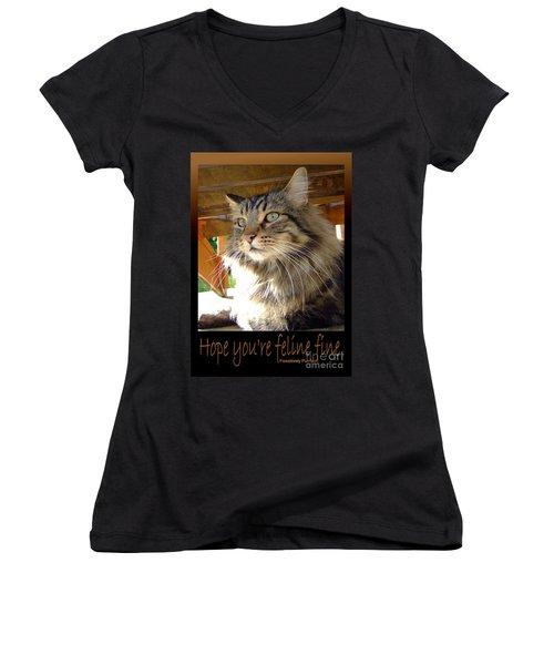 Women's V-Neck T-Shirt (Junior Cut) featuring the photograph Feline Fine by Marianne NANA Betts