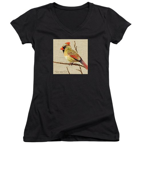 Women's V-Neck T-Shirt (Junior Cut) featuring the painting Female Cardinal by Bob Coonts