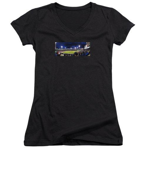 Fenway Night Women's V-Neck T-Shirt (Junior Cut) by Rick Berk
