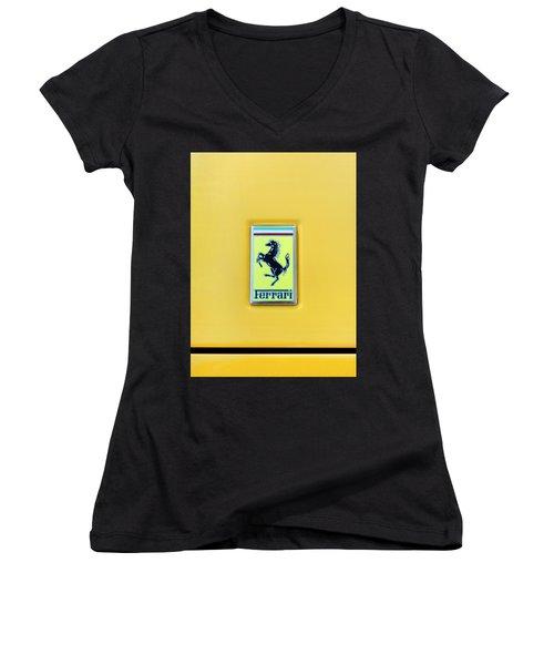 Women's V-Neck T-Shirt (Junior Cut) featuring the photograph Ferrari Badge by Theresa Tahara