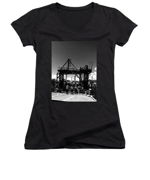 Ferry Workers Women's V-Neck T-Shirt (Junior Cut) by WaLdEmAr BoRrErO