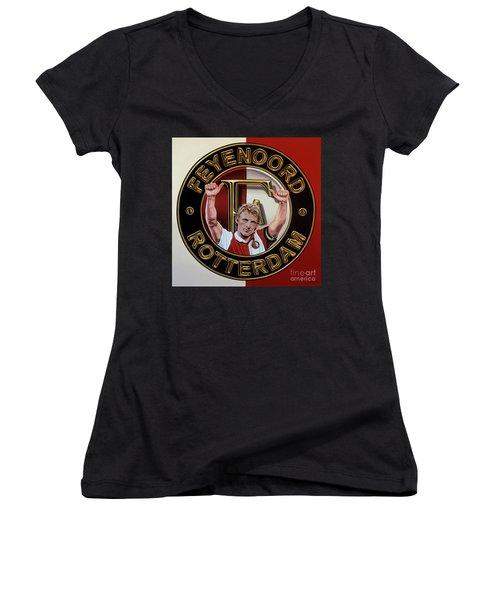 Feyenoord Rotterdam Painting Women's V-Neck T-Shirt (Junior Cut) by Paul Meijering