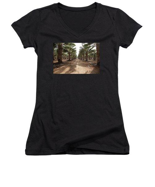 Date Grove #3 Women's V-Neck T-Shirt (Junior Cut) by Yoel Koskas