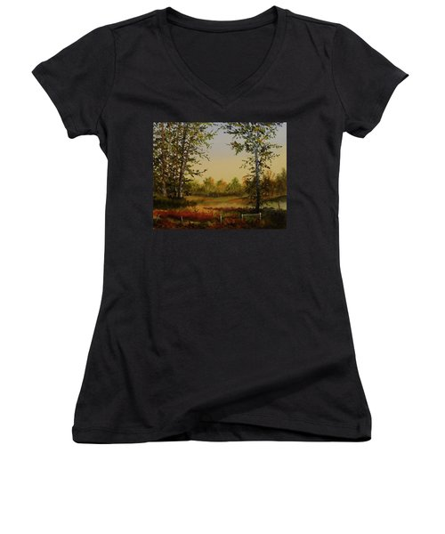 Fields And Trees Women's V-Neck (Athletic Fit)