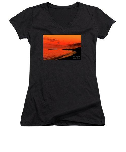 Fiery Lake Sunset Women's V-Neck T-Shirt (Junior Cut) by Randy Steele