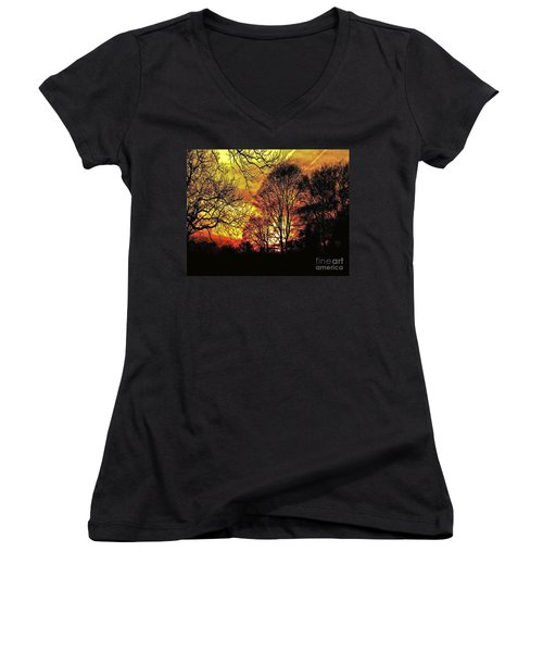 Fiery Red Sunset Women's V-Neck T-Shirt (Junior Cut) by Carol F Austin