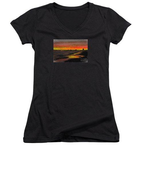 Women's V-Neck T-Shirt (Junior Cut) featuring the digital art Fiery Sunset by Mariola Bitner
