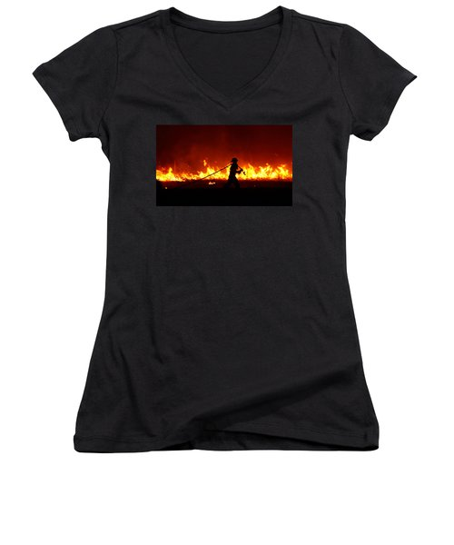 Fighting The Fire Women's V-Neck T-Shirt