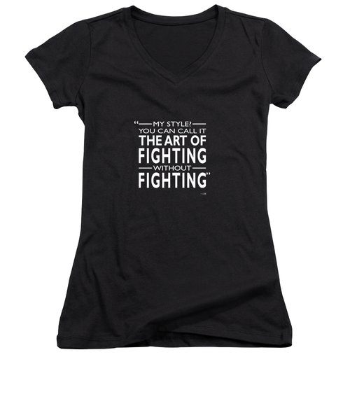 Fighting Without Fighting Women's V-Neck T-Shirt (Junior Cut) by Mark Rogan