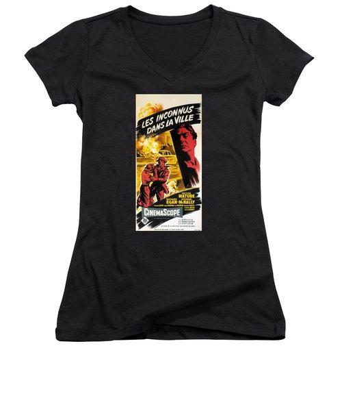 Film Noir Poster   Violent Saturday Women's V-Neck T-Shirt (Junior Cut) by R Muirhead Art