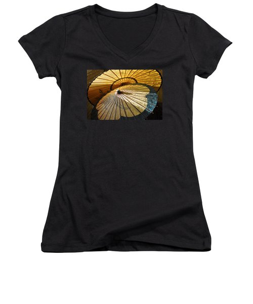 Women's V-Neck T-Shirt (Junior Cut) featuring the photograph Filtered Light by Jan Amiss Photography