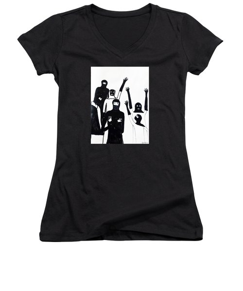 Women's V-Neck T-Shirt (Junior Cut) featuring the drawing Final Call by Lyric Lucas