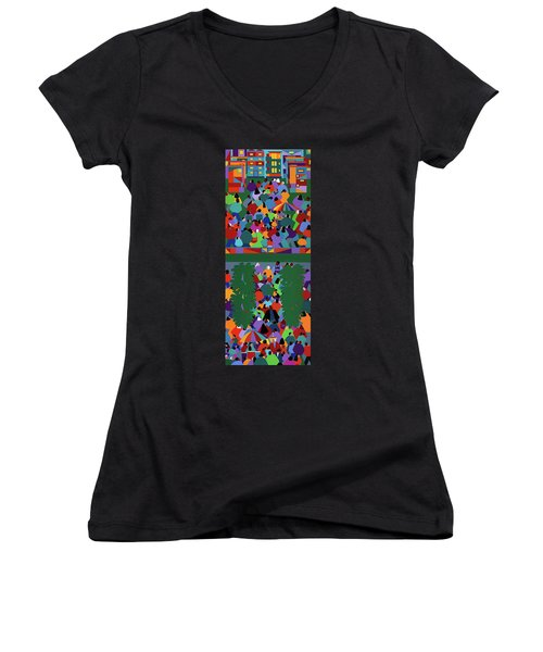 We The People Diptych Women's V-Neck T-Shirt