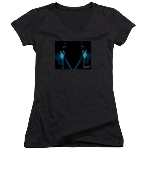 Women's V-Neck T-Shirt (Junior Cut) featuring the photograph Finding Oneself by Mim White