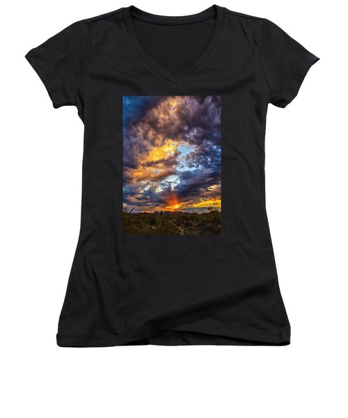 Finger Painted Sunset Women's V-Neck T-Shirt (Junior Cut) by Rick Furmanek