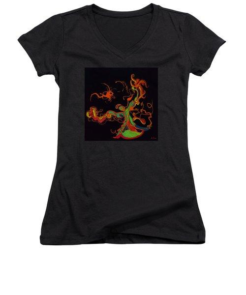Fire Dancer Women's V-Neck T-Shirt