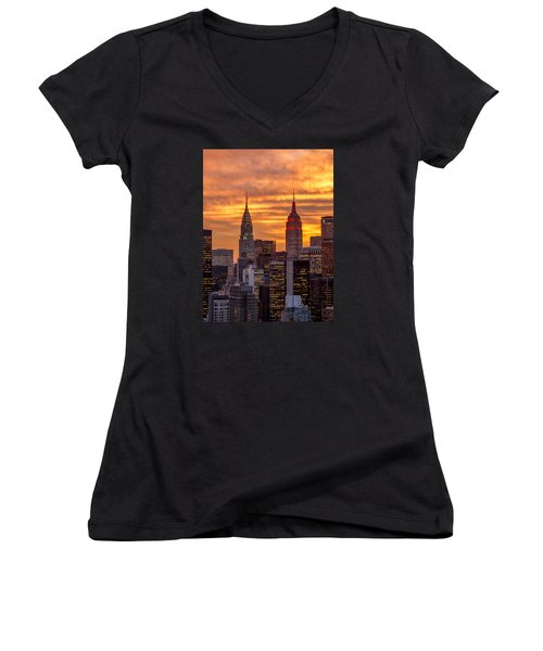 Women's V-Neck T-Shirt (Junior Cut) featuring the photograph Fire In The Sky by Anthony Fields