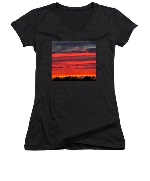 Fire In The Sky Women's V-Neck T-Shirt