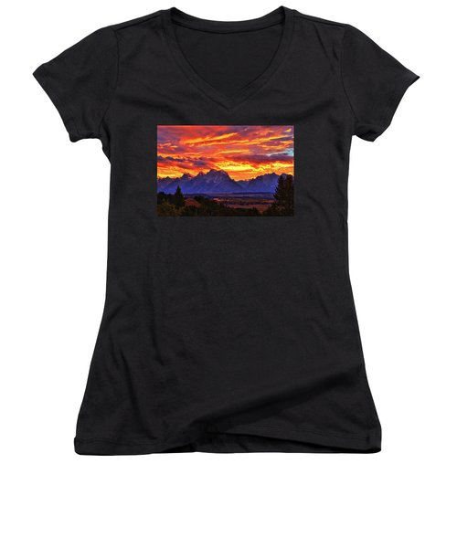 Fire In The Teton Sky Women's V-Neck T-Shirt (Junior Cut) by Greg Norrell