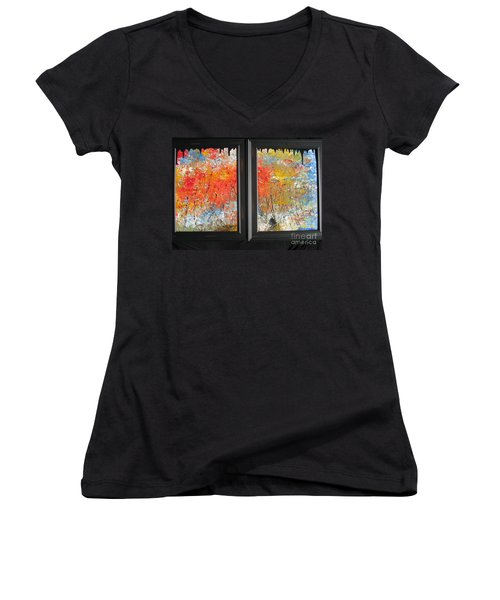 Women's V-Neck T-Shirt (Junior Cut) featuring the painting Fire On The Prairie by Jacqueline Athmann