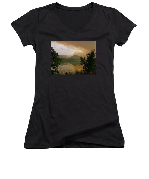 Fire Over St Mary Lake Women's V-Neck T-Shirt