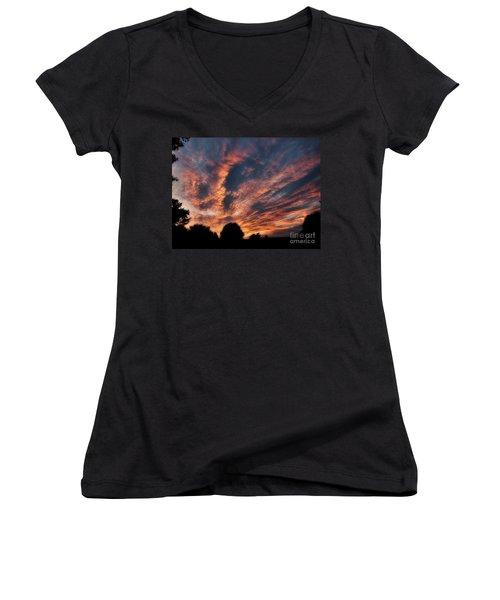 Fire Swept Sky  Women's V-Neck T-Shirt (Junior Cut) by Christy Ricafrente