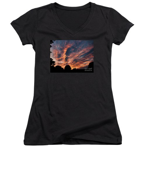 Fire Swept Sky  Women's V-Neck T-Shirt