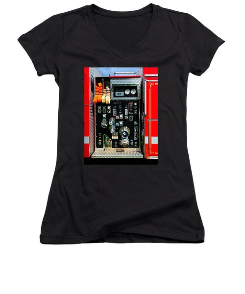 Fire Truck Control Panel Women's V-Neck T-Shirt (Junior Cut) by Dave Mills