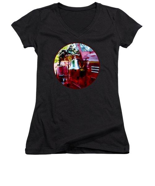Fireman - Bell On Fire Engine Women's V-Neck T-Shirt (Junior Cut) by Susan Savad