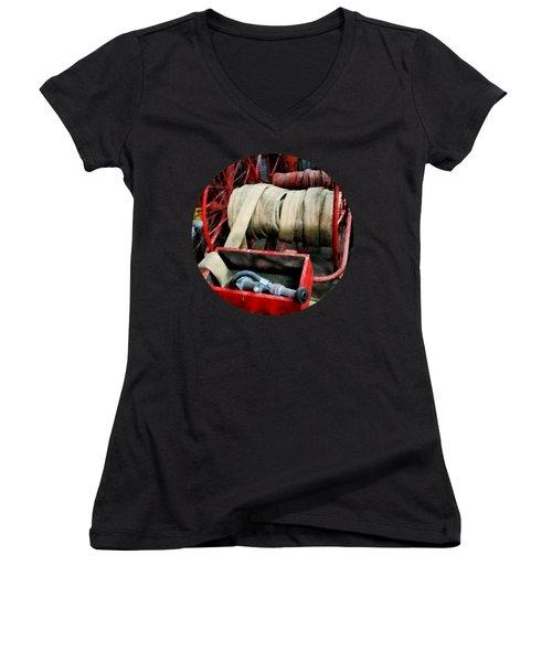 Fireman - Fire Hoses Women's V-Neck T-Shirt (Junior Cut) by Susan Savad