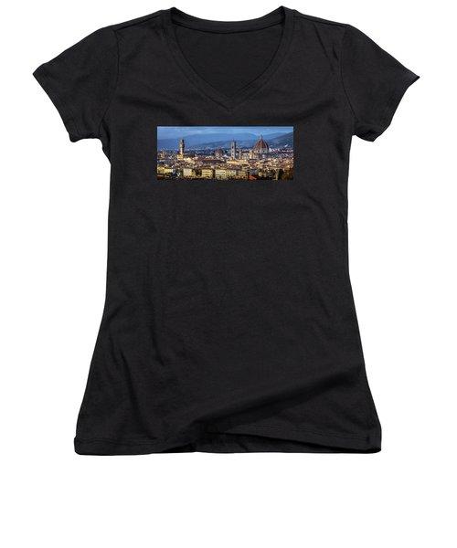 Women's V-Neck T-Shirt (Junior Cut) featuring the photograph Firenze by Sonny Marcyan