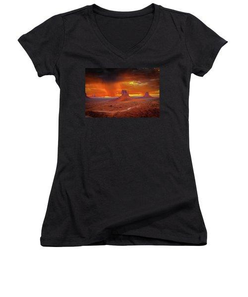 Firestorm Over The Valley Women's V-Neck T-Shirt (Junior Cut) by Mark Dunton