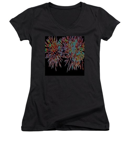 Fireworks Abstract Women's V-Neck T-Shirt (Junior Cut) by Cathy Anderson