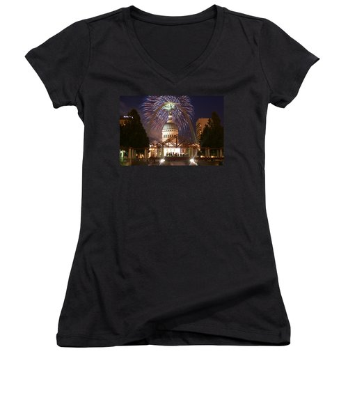 Fireworks At The Arch 1 Women's V-Neck T-Shirt