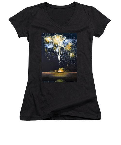 Fireworks Bonfire On The West Bar Women's V-Neck