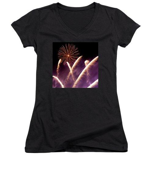 Fireworks In The Night Women's V-Neck T-Shirt