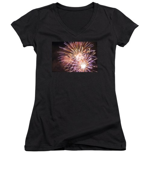 Fireworks In The Park 3 Women's V-Neck T-Shirt (Junior Cut) by Gary Baird
