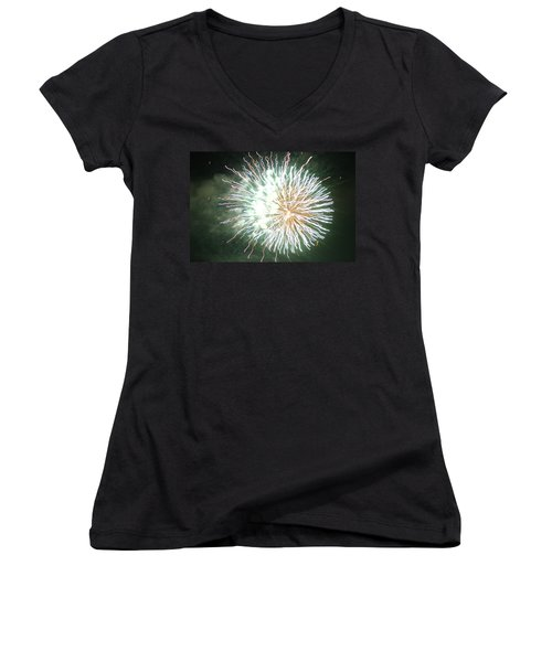 Fireworks In The Park 4 Women's V-Neck T-Shirt (Junior Cut) by Gary Baird