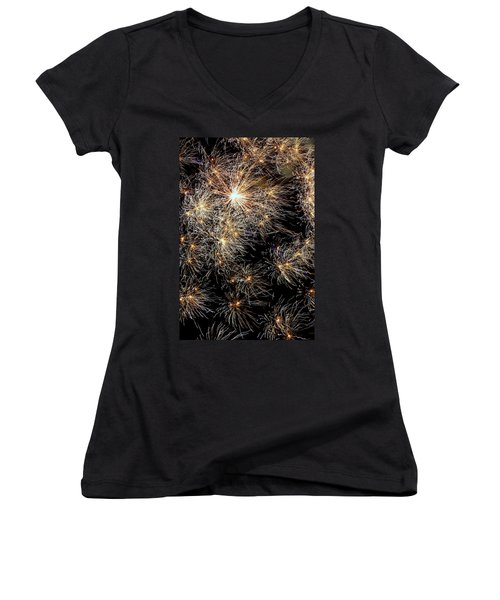 Women's V-Neck T-Shirt (Junior Cut) featuring the photograph Fireworks by Suzanne Stout