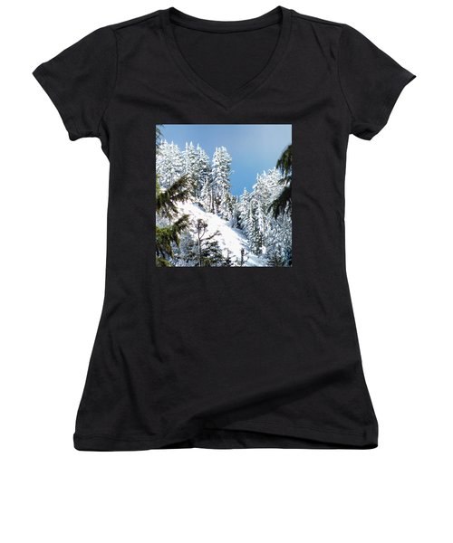 Women's V-Neck T-Shirt (Junior Cut) featuring the photograph First November Snowfall by Wendy McKennon