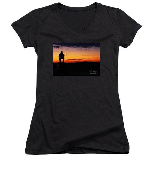 First Pennsylvania Cavalry Sunrise Gettysburg Women's V-Neck T-Shirt (Junior Cut) by Randy Steele
