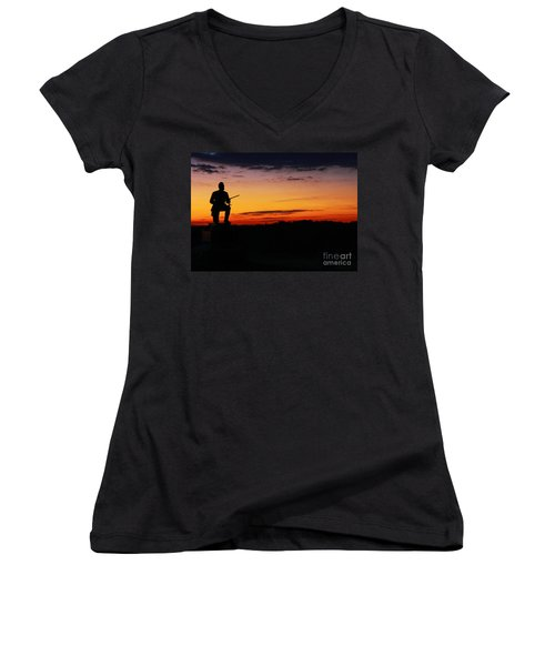 First Pennsylvania Cavalry Sunrise Gettysburg Women's V-Neck (Athletic Fit)