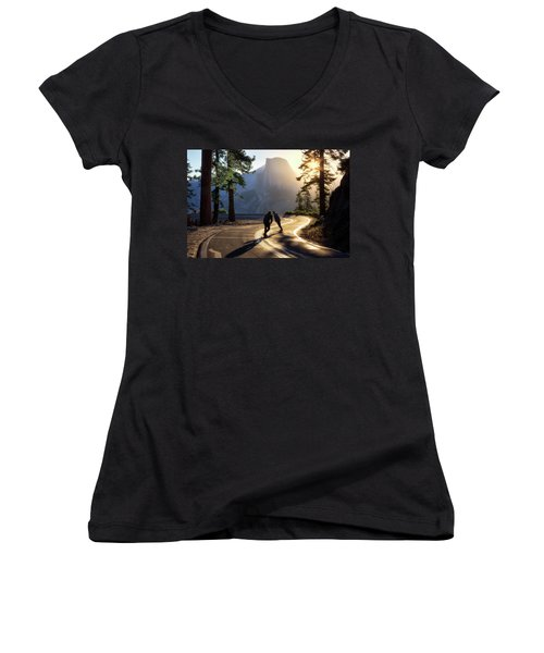 First Tracks Women's V-Neck T-Shirt (Junior Cut) by Nicki Frates