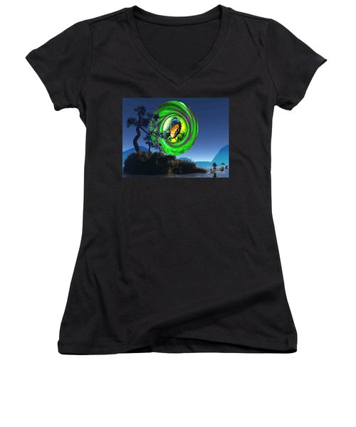 Women's V-Neck T-Shirt (Junior Cut) featuring the painting Fish Too Big For Cormorant by Mojo Mendiola